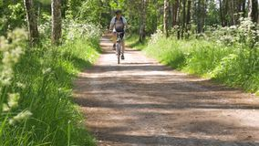 晴天,室外活动的一条道路 对此人们跑并且骑自行车 影视素材