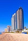 晴朗海滩早期的海岛迈阿密的早晨 免版税库存照片