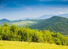 晴朗的日 在山的春天 蓝色山 免版税库存照片