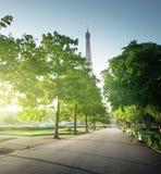 晴朗的早晨和埃佛尔铁塔,巴黎 免版税库存图片