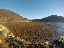 晴朗的海、岸和山在北挪威 库存图片