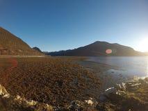晴朗的海、岸和山在北挪威 免版税库存图片