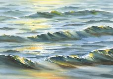 晴朗的海水彩背景 库存图片