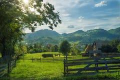 晴朗的草甸山村风景 免版税库存图片