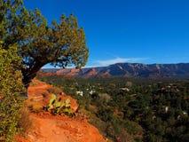 晴朗的Sedona天:红色岩石和蓝天 库存图片
