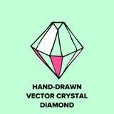 水晶例证和时髦象金刚石玻璃容器 免版税库存照片