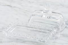 水晶奶油碟 免版税库存照片
