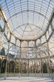 水晶宫,玻璃结构在Retiro公园 免版税库存照片