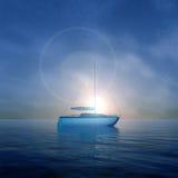 水晶小船日出 库存图片