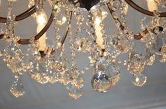 水晶枝形吊灯特写镜头 库存照片