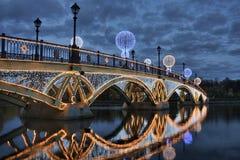 水晶桥梁的反射在Tsaritsyno 库存照片