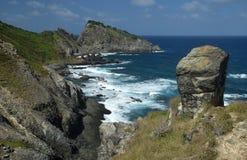 水晶海海滩在费尔南多・迪诺罗尼亚群岛 免版税库存图片