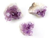 紫晶透明水晶在白色背景的 免版税库存图片