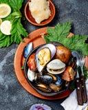 智利和奇洛埃岛群岛- Curanto Al霍约,Kuranto南部的著名传统盘  另外海鲜 库存图片
