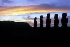 智利复活节岛moai 免版税图库摄影