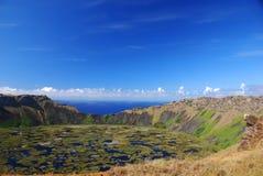 智利复活节岛kau rano 图库摄影