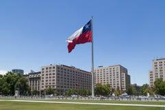 智利旗子,圣地亚哥de智利 免版税库存照片