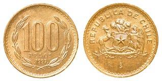 100智利比索硬币 库存照片