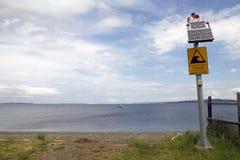 智利海啸警报信号,智利 免版税图库摄影