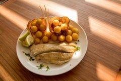从智利海洋的鲜鱼晚餐 免版税库存图片