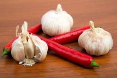 智利胡椒和大蒜 库存图片
