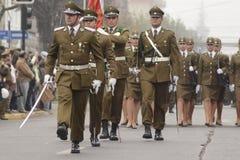 智利警察游行 免版税库存照片