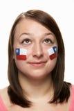 智利风扇女性标志炫耀年轻人 免版税图库摄影