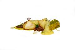 智利鲈鱼用橙色调味汁 库存图片
