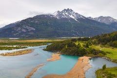 智利巴塔哥尼亚风景,与草甸,河莱巴尼茨a 免版税库存照片