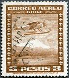 智利- 1931年:展示水上飞机,系列空间的飞机和标志 库存照片