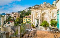 智慧女神` s庭院在萨莱诺,褶皱藻属,意大利 免版税库存图片