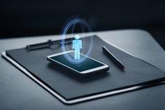 智能手机、剪贴板和笔 向量例证