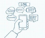 智能手机乱画-通信和互联网 库存图片