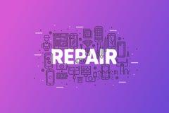 智能手机修理和用户线路概念横幅 库存照片