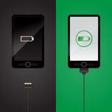 智能手机充电 库存图片