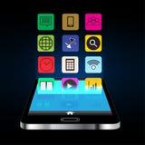 智能手机和应用构思设计在深蓝背景 免版税库存照片