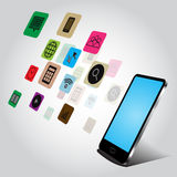 智能手机和应用构思设计在白色背景 免版税库存图片