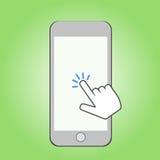 智能手机和点击游标 库存图片