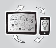 智能手机和片剂个人计算机连接 免版税库存照片