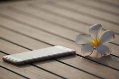 智能手机和白色羽毛晨曲在木桌上 免版税图库摄影