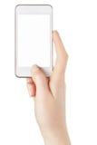 智能手机在拍照片的女性手上 免版税库存照片