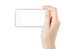 智能手机在拍照片的女性手上 免版税库存图片