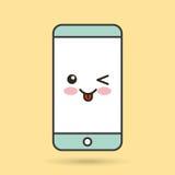 智能手机字符kawaii样式 库存照片图片