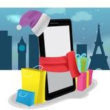 智能手机流动购物购买销售传染媒介 库存图片