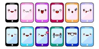 智能手机漫画人物滑稽的面孔 套Kawaii快乐的机动性 网上阿普斯 平的设计传染媒介 库存图片