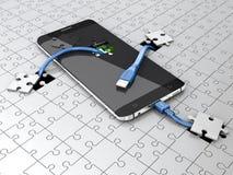 智能手机的新理念发展 流动充电的技术3d例证 库存图片