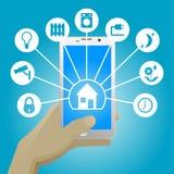智能手机的聪明的家 免版税库存照片