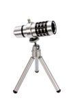 智能手机的远摄镜头在三脚架 免版税图库摄影