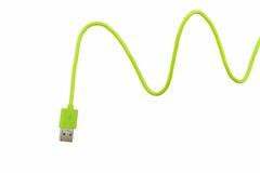 智能手机的绿色USB缆绳 库存图片