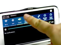 智能手机调整模式、声音和喑哑 免版税库存照片